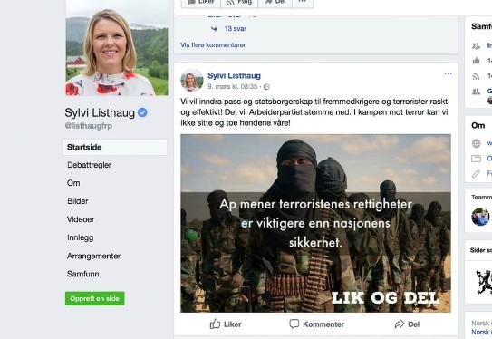 sylvi-listhaug-facebook-scanpix 2