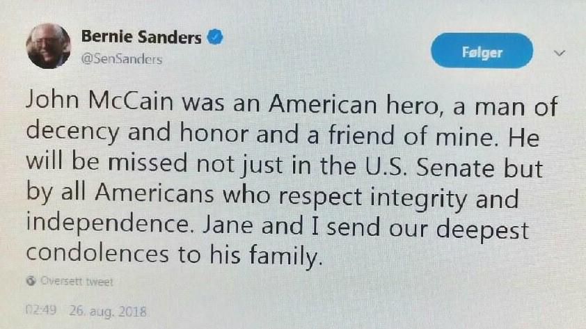 Sanders tweet